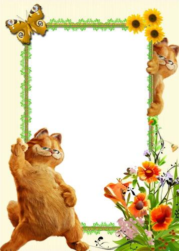 Рамка psd кот гарфилд для детского сада
